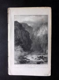Gilly 1831 Antique Print. A Vaudois Pass on the Germanasca, Italy